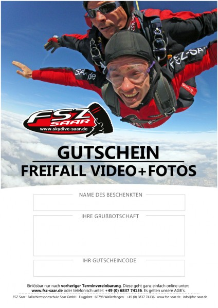 Gutschein Freifall Video + Fotos