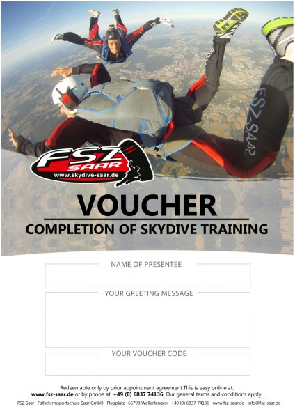 Voucher Completion of Skydive Training