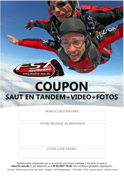 Coupon Saut en Tandem avec Video + Fotos